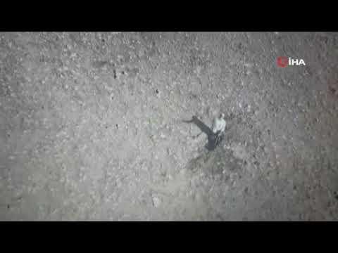 Defineci Jandarmaya ait drone'u taşladı