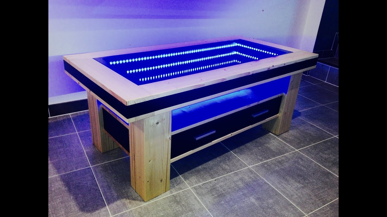 Table basse design led miroir infini youtube for Table basse miroir