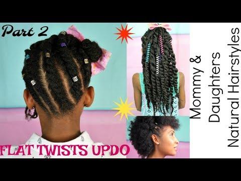 Kids Natural Hairstyles Flat Twists Updo Tutorial Mommy Minis Part 2