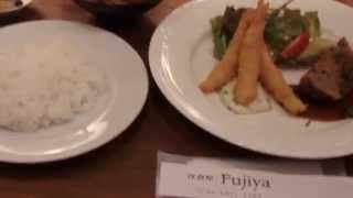 大阪谷4:洋食「フジヤ」 「日替わり海老フライ&ミートローフ」(85...