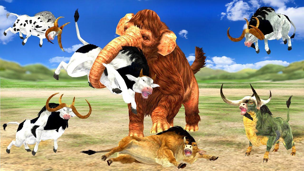 Download Zombie Mammoth Vs Big Bulls Attack Cartoon Cow Mammoth Vs Bull Animal Revolt Epic Battle Compilation