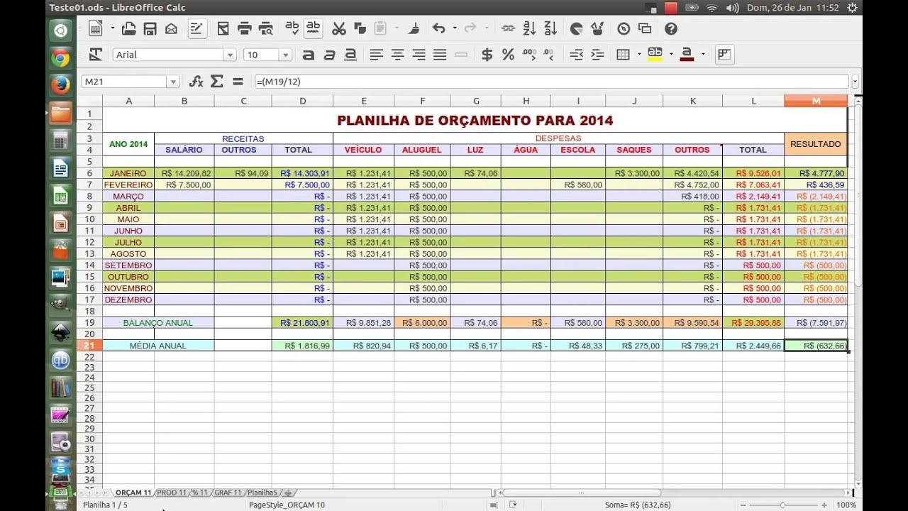 planilha de orçamento