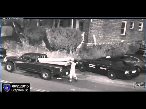 Lone male in a light-weight pickup truck illegally dumps a mattress, box spring and two TVs.