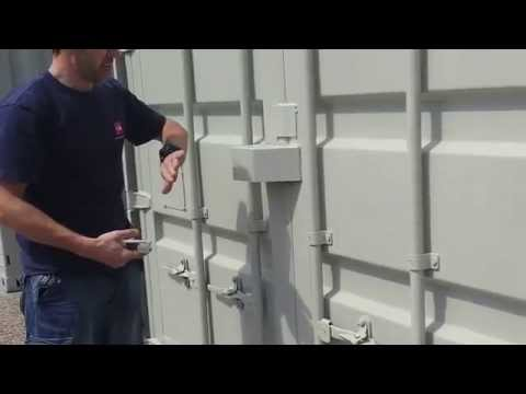 How to close a self storage shipping container fitted with a lock box