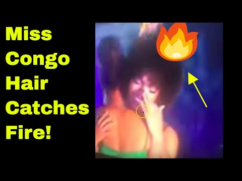 MISS AFRICA HAIR CATCHES FIRE ON STAGE IN CALABAR! MISS CONGO HAIR