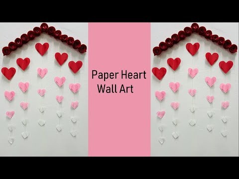 Hanging paper heart wall art tutorial | DIY easy paper crafts