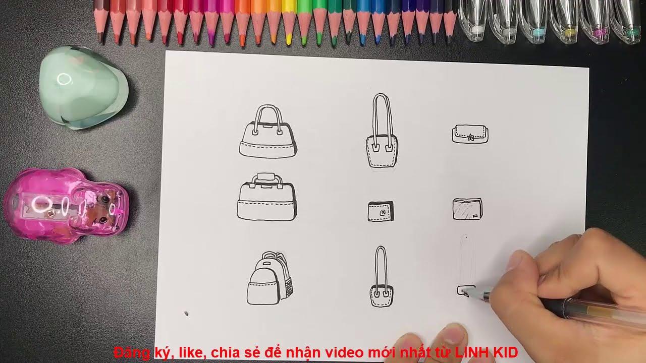 Làm túi xách cho gia đình búp bê (vẽ) – Linh kid