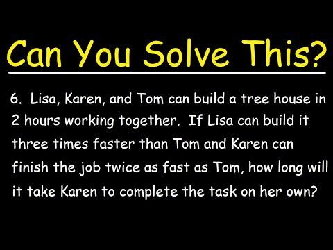 How to solve work problems algebra