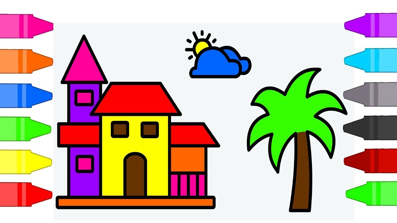 Beach House Coloring Pages For Kids Coloring Book For Children