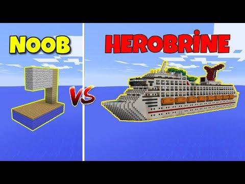 NOOB VS HEROBRİNE (Gemi Yapmak) - Minecraft thumbnail