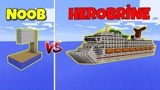 NOOB VS HEROBRİNE (Gemi Yapmak) - Minecraft