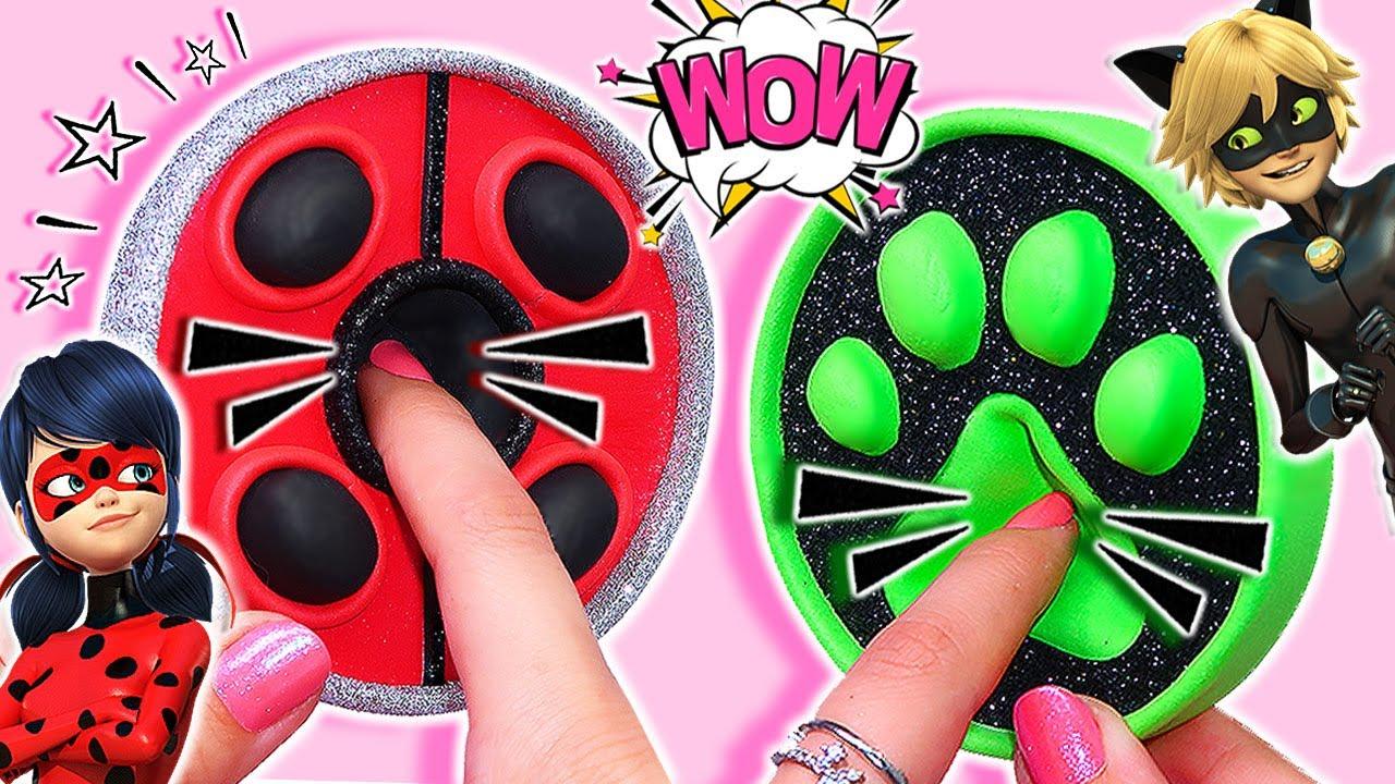 🐞💚 DIY Miraculous Ladybug Pop It Fidget! Viral TikTok fidget toys Ladybug and Chat Noir Pop It 💚🐞