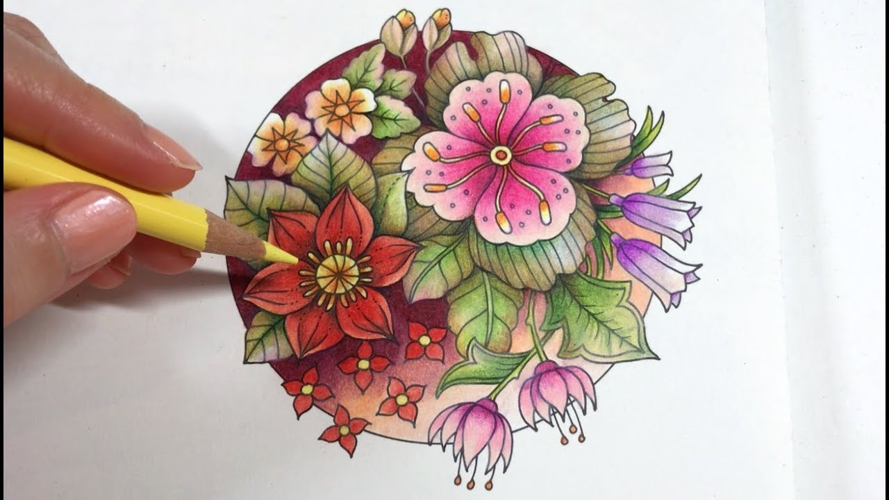 Basic Flowers Coloring Blossom 1 4 World Of Flowers By Johanna Basford