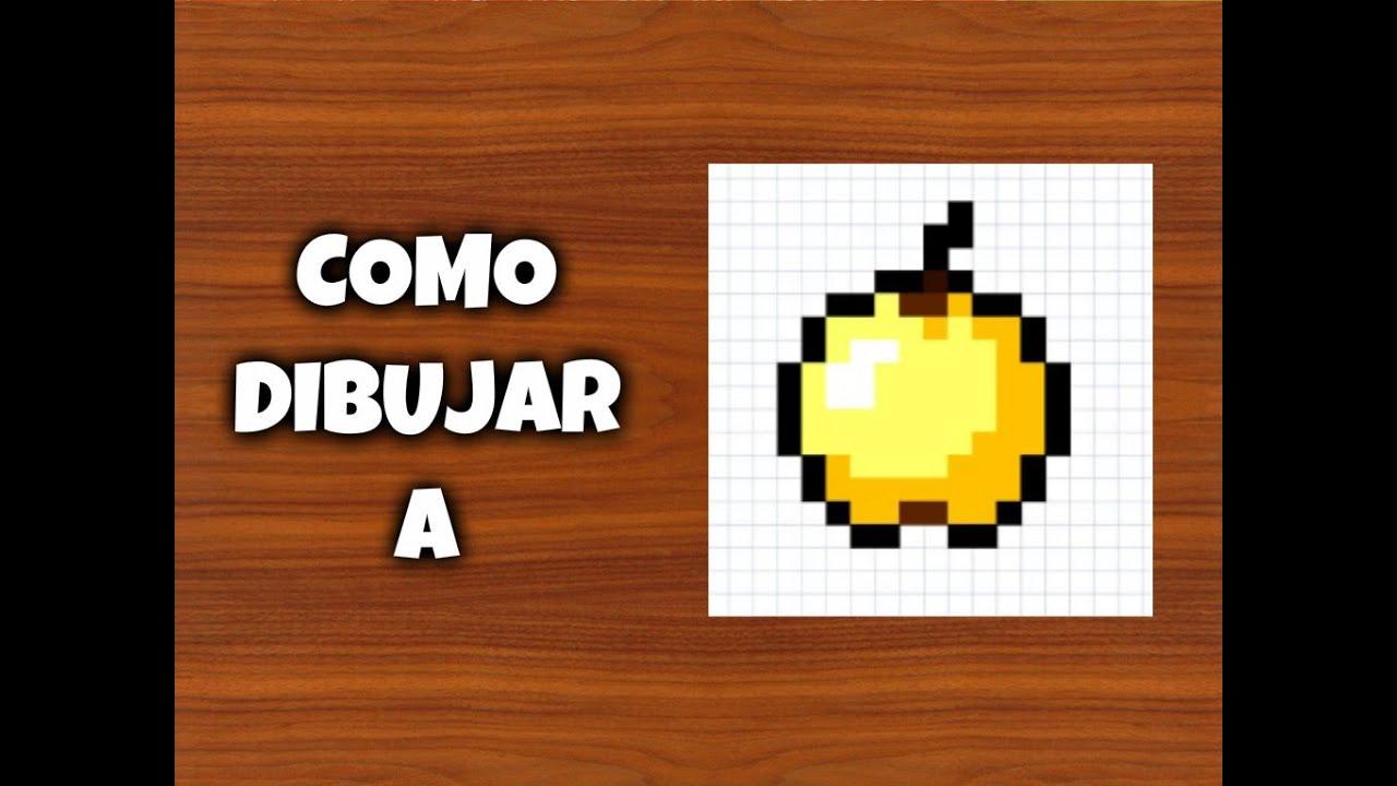 Como dibujar una manzana dorada para minecraft pixel - Plantillas para dibujar en la pared ...