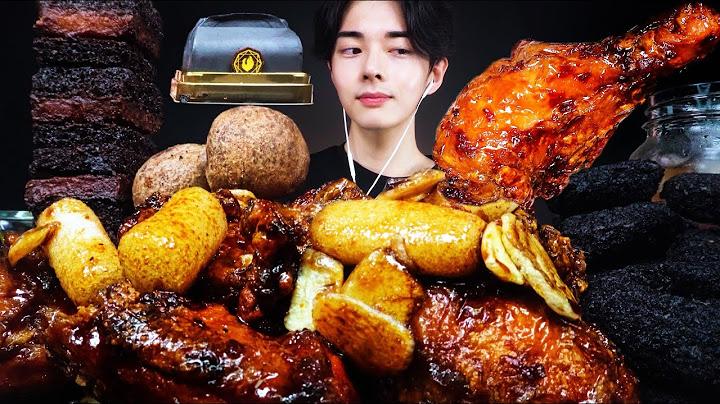 ASMR MUKBANG 푸라닭 블랙알리오 양념치킨 먹방 블랙치즈볼 블랙멘보샤 블랙디저트까지 리얼사운드/ Luxury Frieed Chicken realsound チキン gà rán