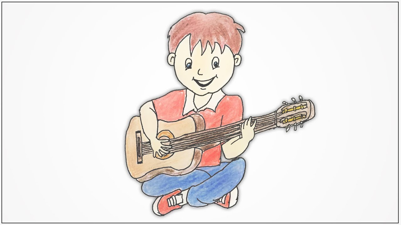 How To Draw A Boy Playing Guitar Step By