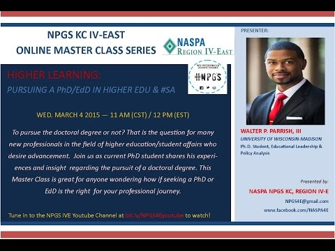 NPGS IVE Master Class: HIGHER LEARNING