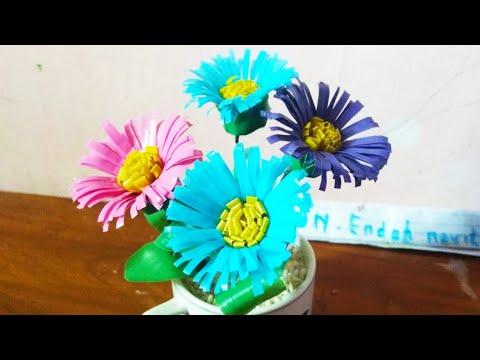 Cara Membuat Bunga Daisy dari sedotan plastik - YouTube 526e042984