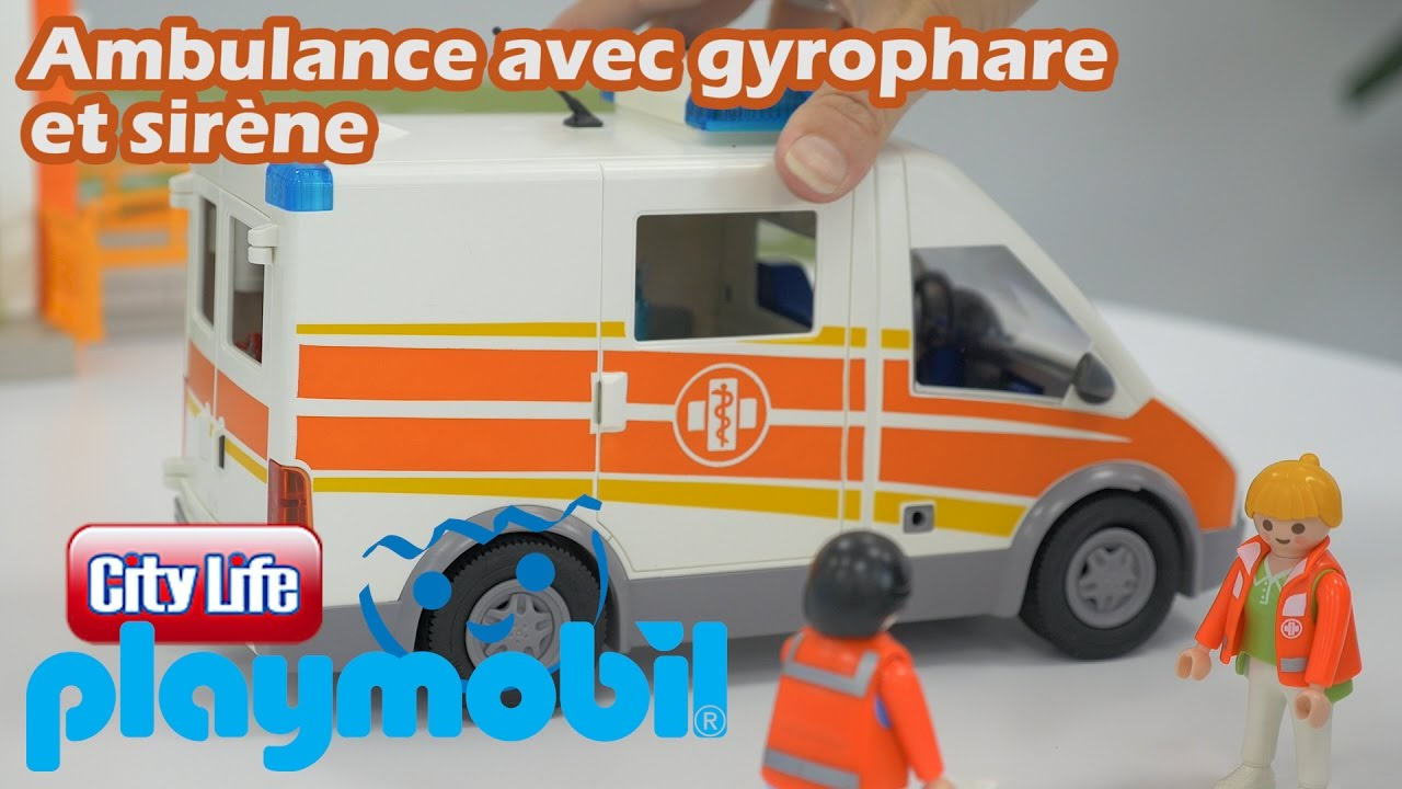 playmobil 6685 ambulance avec gyrophare et sir ne youtube. Black Bedroom Furniture Sets. Home Design Ideas