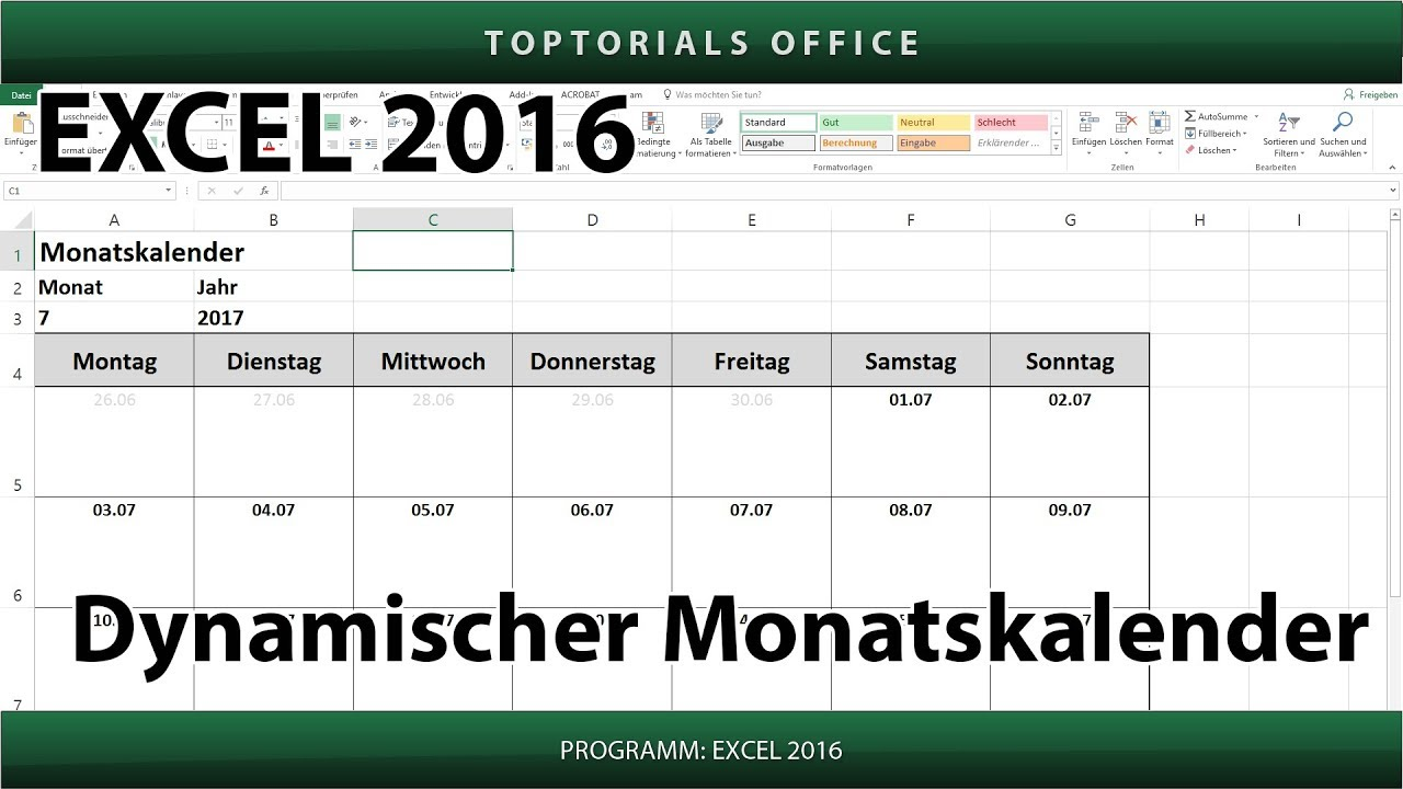 dynamischen monatskalender erstellen download excel youtube. Black Bedroom Furniture Sets. Home Design Ideas