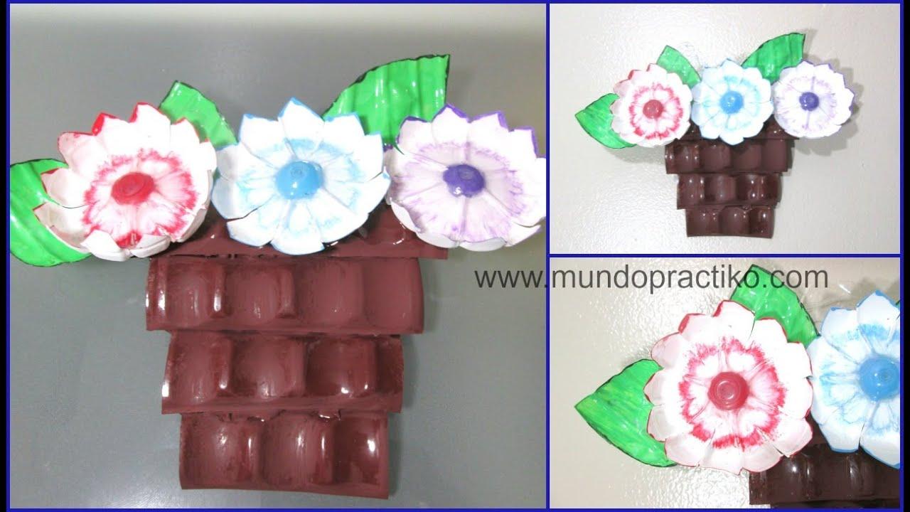 con botellas de plastico canasta con flores recicladas youtube