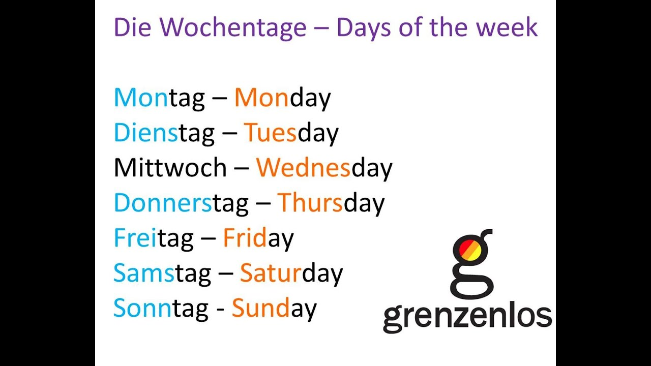 DAYS OF THE WEEK IN GERMAN - Die Wochentage - YouTube