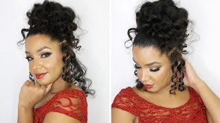 Perm Rod Updo on Natural Curly Hair ft. CURLS Blueberry Bliss