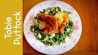 Roast Chicken With Lemon, Sage And Apple + Pea, Mint And Feta Salad