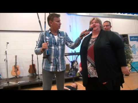 Painful osteoarthritis in knees healed & lady walks without sticks - John Mellor Healing Ministry