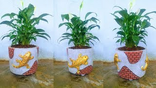 How to make cement flower pots with sand from plastic buckets and wonderfully decorated