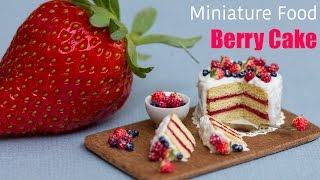 Miniature Berry Cake with Strawberries // Fimo Polymer Clay Cake