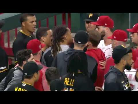 C-Rob Blog (58472) - Reds Pitcher Amir Garrett Charges Pirates Dugout