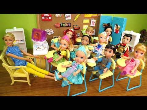 SHOW and TELL ! Elsa & Anna toddlers at School - One is Sleepy - teacher Barbie - Math problems - Поисковик музыки mp3real.ru