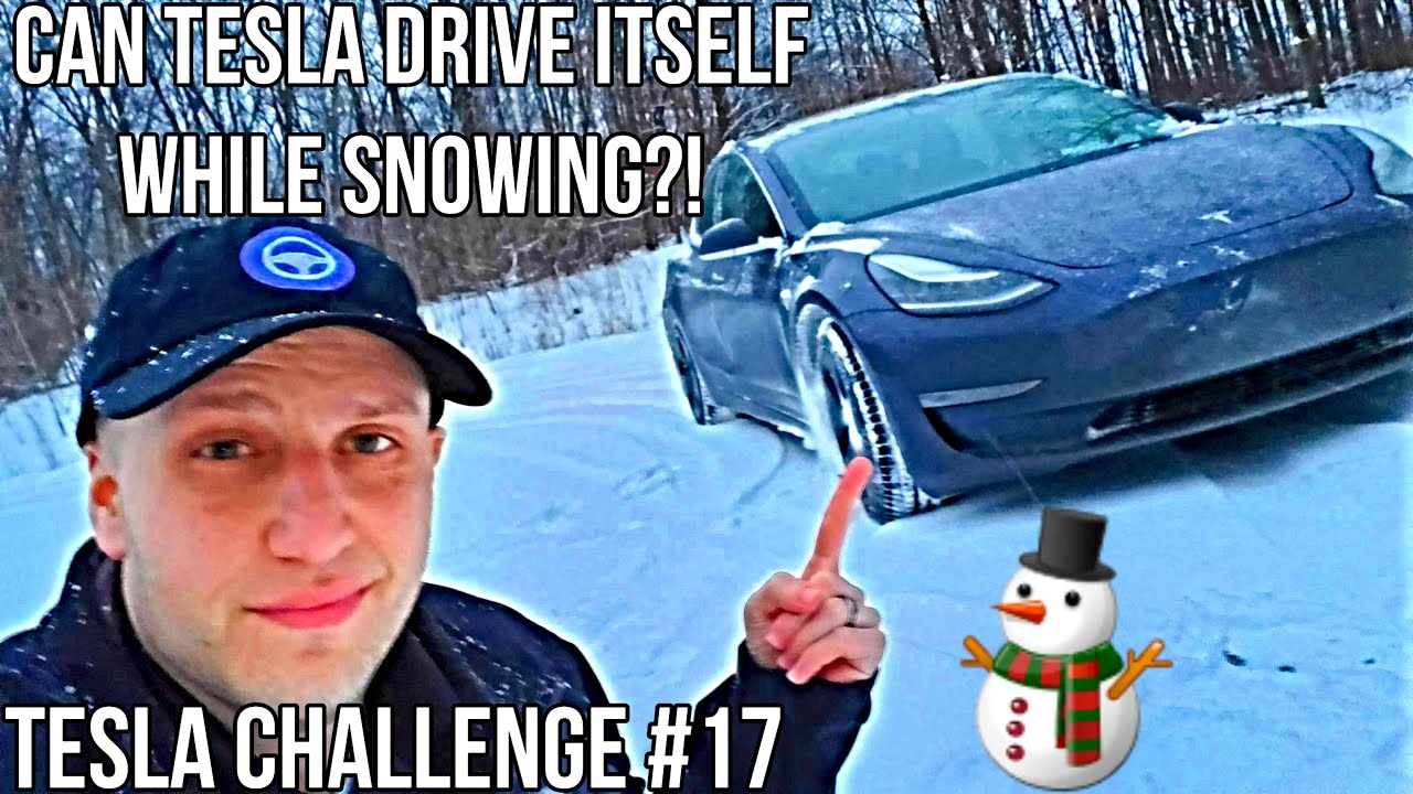 Can Autopilot Drive While Snowing?! | TESLA CHALLENGE #17 | Full Self Driving |