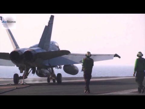 F/A-18 Hornets & EA-6B Prowlers Launch & Land – USS George H.W. Bush