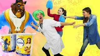 Красавицы и чудовище: Кто быстрее? Игры с йогуртом Fruttis