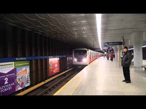 Warsaw metro train arrives to Plac Wilsona station without boarding - Warsaw, 04.02.2014