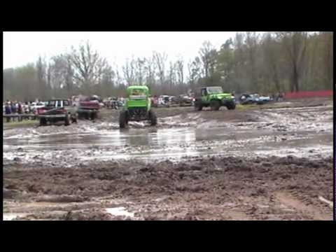 Mean Green 1941 mud truck on tractor tires