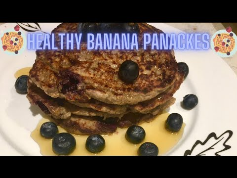 My healthy banana oatmeal pancakes with blueberries recipe