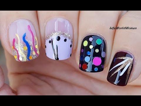 4 new year's eve nail art designs / lifeworldwomen  youtube
