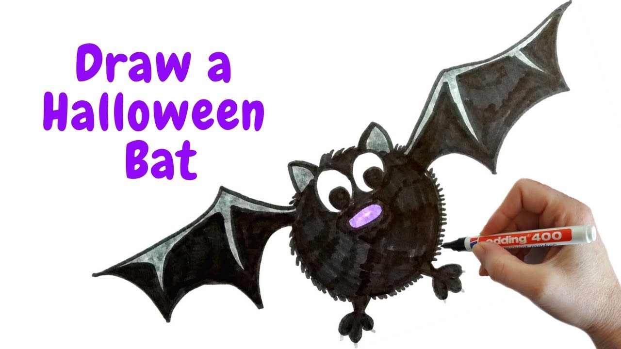 how to draw a halloween bat