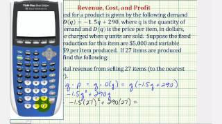 Ex: Find Total Revenue, Total Cost, and Total Profit Functions