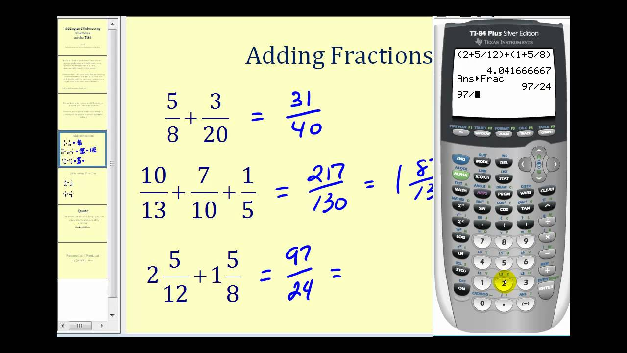 Adding And Subtracting Fractions On The Ti84