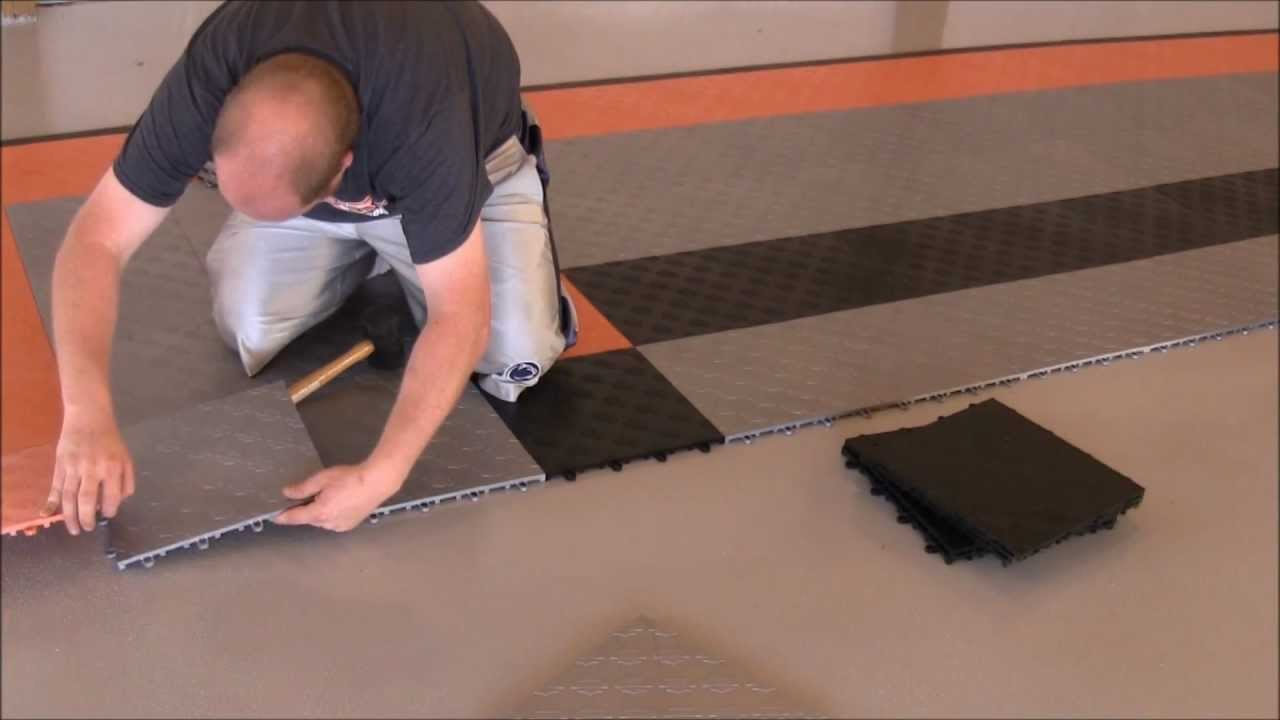 Harley davidson garage floor tile install youtube dailygadgetfo Choice Image