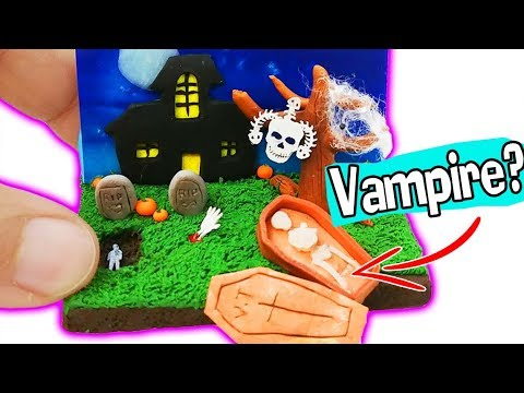 HOW TO MAKE MINIATURE HAUNTED HOUSE HALLOWEEN DIY Room Decor Craft polymer clay