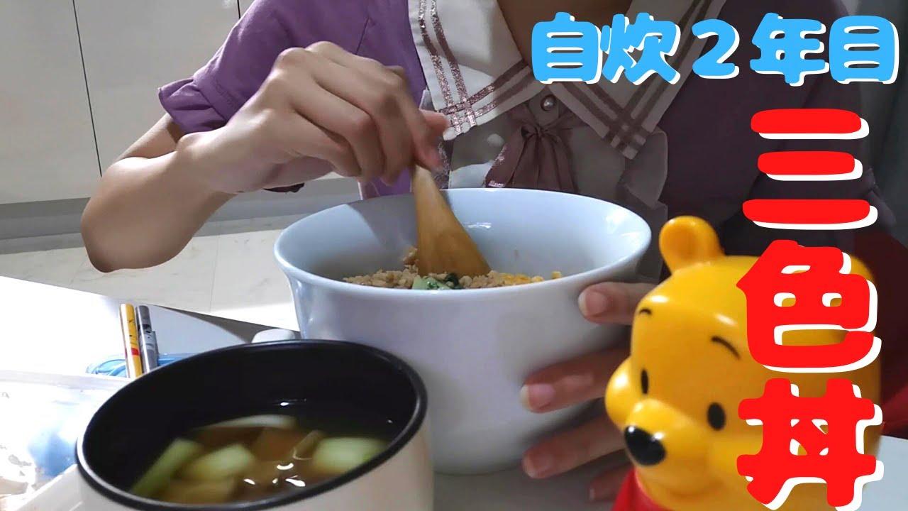 【自炊2年目田舎娘の料理日記】半額の鶏ひき肉で作ったそぼろで三色丼作った記録('∇')【一人暮らしvlog】