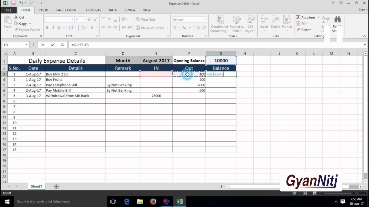 how to maintain daily expenses in excel