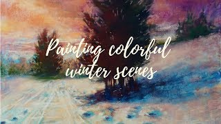 How to paint colorful winter scenes with pastels | Soft pastel demo (louder version)