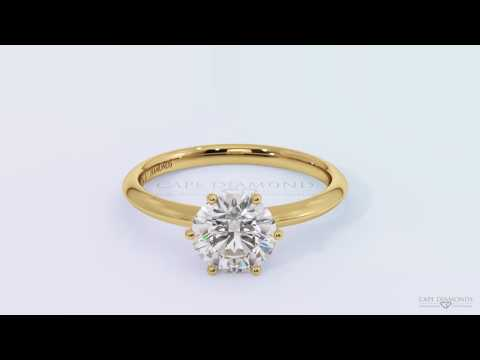 Claw yellow gold diamond engagement ring for woman set with Diamonds sourced in Cape Town