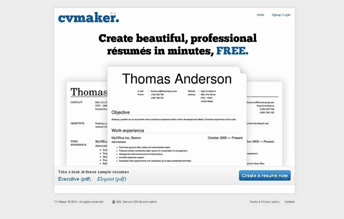 Cvmaker In Create A Free Resume Online Youtube